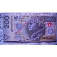 Польша 200 злотых. сувенир. односторонние. распродажа