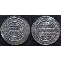 YS: Венгрия, медная монета 12 века (1172-1196), Бела III, Huszar# 73, псевдоарабские надписи