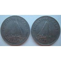 Багамские острова (Багамы) 25 центов 1991, 2000 г. Цена за 1 шт. (gl)