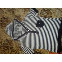 Кофточка молодёжная стильная  в полосочку с капюшоном 46-48 р!