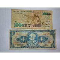 Бразилия 1 и 100000 крузейро
