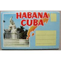 "Набор открыток ""Habana. Cuba"" (Куба. Гавана) Середина 70-х гг Roberto Tobacco Co. Printed in USA.  5 двухсторонних открыток в ленте"