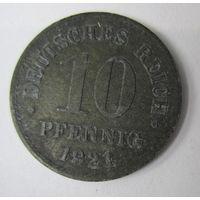 Германия. 10 пфеннигов 1921.  Не магнит.Цинк 2-88