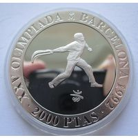 Испания 2000 песет 1990 XXV Летние Олимпийские игры, Барселона 1992 - пелота - серебро 0,925