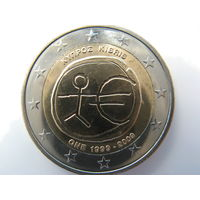 Кипр 2 евро 2009 г. 10 лет монетарной политики ЕС (EMU) и введения евро. (юбилейная) UNC!