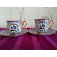 Две кофейные пары из фарфора. Чехословакия, ручная роспись. Высота чашки - 6 см, блюдце - 13 см. Читайте описание!