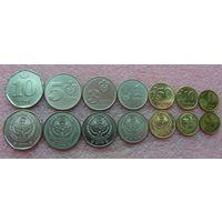 Киргизия.  набор 7 монет  1, 10, 50 тыйын 1, 3, 5, 10 сом  2008 - 2009 год