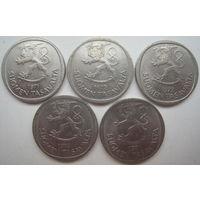 Финляндия 1 марка 1971, 1972, 1973, 1974, 1981 гг. Цена за 1 шт. (v)