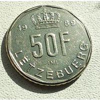 Люксембург 50 франков, 1989 Надпись на реверсе 4-16-6