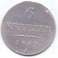 Германия. Королевство Бавария (1806 - 1873), 6 крейцеров 1849 года.