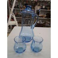 Набор для воды(кувшин и 2 стакана). Синее стекло.