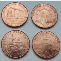 США. 1 цент Жизнь Линкольна. 4 монеты