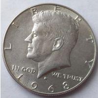 США 1/2 доллара 1968 года Серебро 0.400