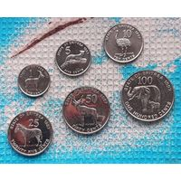 Набор монет Эритрея 1, 5, 10, 25, 50, 100 центов 1997 года, UNC. Страус, зебра, слон и другие животные Африки.