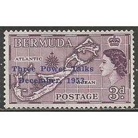 Бермуды. Королева Елизавета II. Карта страны. Надпечатка на #135. 1953г. Mi#149.