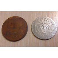 1 и 10 кобо Нигерия 1973 года - из коллекции (цена за две монеты)