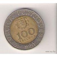 Португалия, 100 escudos, 1991, Педро Нуньеш