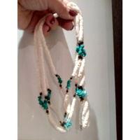 Ожерелье и браслет натуральный камень берюза