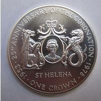 О-в Св. Елены, крона, 1978, серебро