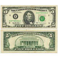США. 5 долларов (образца 1995 года, E, Вирджиния, P498)