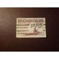 Канада 1955 г.Эскимосский охотник на каяке.
