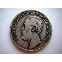 Швеция-Норвегия 2 кроны Oscar II  1876 г. нечастая KM# 742