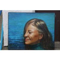 Портрет девушки на фоне моря