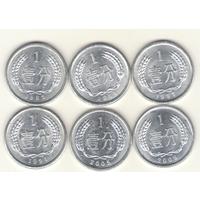 1 фэнь 1982, 1983, 1987, 1991, 2005, 2009 г.