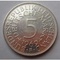 ФРГ. 5 марок 1968 F, Серебро