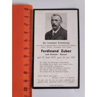 Поминальная карточка 1937 г. Одинарная двусторонняя.