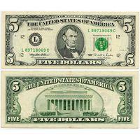 США. 5 долларов (образца 1995 года, L, Калифорния, P498)
