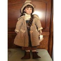 Шикарная коллекционная Кукла Германия сертификат фарфор 66 см