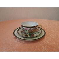 Чайное трио Китаянки на фоне пагоды тончайший фарфор Китай диаметр тарелки 16.5 см.