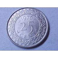 Суринам 25 центов 1976 г.Аукцион с 1.00 руб.