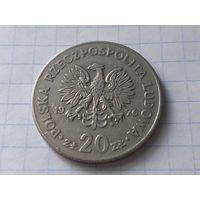 """Польша 20 злотых, 1976  Марсель Новотко   ( Отметка монетного двора """"MW"""" )"""
