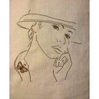 Вышитая картина Девушка с бабочкой