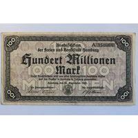Германия (Hamburg), 100 млн. марок 1923 год.