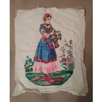 Вышивка старинная Девушка с цветами 45/37 см
