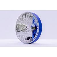 """Палау 10 долларов 2020г. """"Полярные экосистемы"""". Монета в капсуле; подарочном футляре; номерной сертификат; коробка. СЕРЕБРО 62,20гр.(2 oz)."""