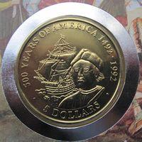 О-ва Кука, 5 долларов, 1991, монета-письмо