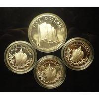 4 серебряные монеты 1 и 5 долларов Багамские острова 1974,76 г