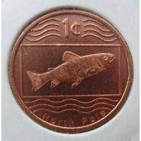 """Северный Полюс 1 цент 2012 """"Рыба, часть Северного полюса с видом на Гренландию и Аляску"""""""