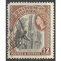 Британская Гвиана. Королева Елизавета II. Лесозаготовки. 1954г. Mi#206.