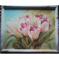 Утренние тюльпаны. 35x45, ДВП, гуашь.