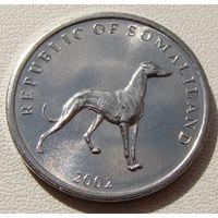 """Сомалиленд. 20 шиллингов 2002 год  KM#6  """"Борзая собака"""""""