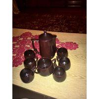 Стильный кофейный керамический сервиз тёмно - коричневого цвета