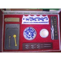 Большой набор для китайской и японской живописи и каллиграфии. Кисти, тушь, камень для растирания, киноварь, печать