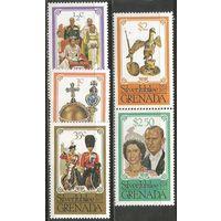 Гренада. 25-летие правления королевы Елизаветы II. 1977г. Mi#851-55. Серия.
