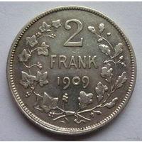 Бельгия. 2 франка 1909г. Серебро.