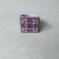 Кольцо деревянное Фиолетовый орнамент